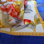Vintage Adrienne Vittadini Silk Peony Scarf