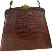 Vintage BASS Genuine Lizard Handbag Purse 1960's