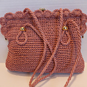 Vintage Pink Crocheted Rattan Handbag Japan