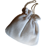 Vintage White Beaded Drawstring Handbag Purse