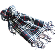 Pashmina Cashmere Classic Plaid Black Red & White Scarf Shawl Fringed