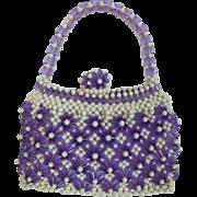 Vintage Purple and White Plastic  Bead Purse