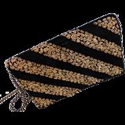 Vintage Bag Velvet w/ Metal Embroidery Clutch or Shoulder