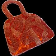 Vintage Jamin Puech Orange Beaded Evening Bag Purse