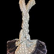 SOLD Donna Karan DKNY Long Midnight Navy and White Silk Scarf w Fringe