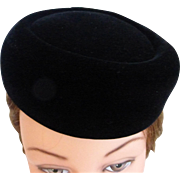 1960's Black Velvet Pillbox Hat by Mr. John, New York - Paris