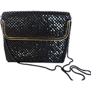 Vintage Black Metal Mesh Purse w Gold Tone Black Enamel - Shoulder or Clutch