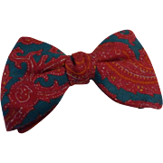 Vintage BowTie Wool Paisley Clip-On