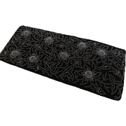Black Beaded Velvet Clutch Handbag Purse