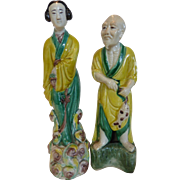 "Vintage Large Chinese ""Mud Men"" Pottery Figures of Man & Woman"