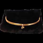 Vintage INGBER Black Velvet Fold Over Clutch Purse Handbag