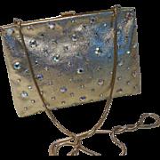 Delill Gold Leather Crystal Rhinestone Evening Bag Purse