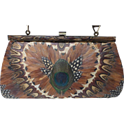 Vintage 1950s Peacock Feather Covered Handbag / Clutch Purse