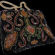 Vintage Multi-Color Beaded Purse  Handbag Clutch