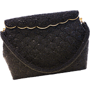 Stunning Vintage Black Beaded Bag Handbag Purse
