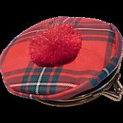 Vintage Scottish Tartan Tam Hat Coin Change Purse