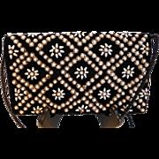 Vintage Black Velvet w/ Faux Pearls & Metal Embroidery Clutch or Shoulder Bag