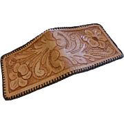 Vintage Tooled Leather Wallet MINT