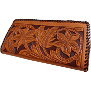 Vintage Tooled Leather Wallet Billfold MINT