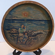 SOLD Wood Folk Art Hand Carved & Painted Bowl Norway
