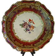 Vintage Large Florentine Wooden Serving Tray Round