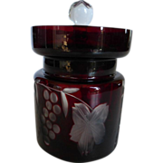 SOLD Vintage Ajka Marsala Crystal Ruby Cut to Clear Jam Jar Bohemian