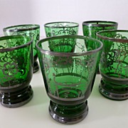 Vintage Sterling Silver Overlay Green Venetian Glass Cordials Set of Six