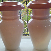 Antique Pink Opaline Free Blown Vases Pair