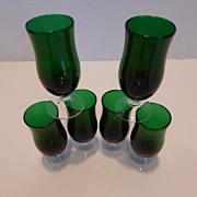Vintage Emerald Green Blown Glass Cordials Set of 6