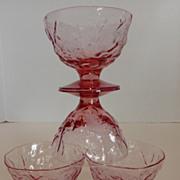 Vintage Seneca Glass Heather Driftwood Sherbet Dishes Set Of 4