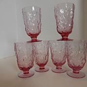SOLD Vintage Seneca Glass Heather Driftwood Goblets Set Of 6