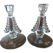 Vintage Clear Crystal Candlesticks Pair