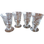 Vintage Clear Crystal Footed Tumbler 2 1/2 Oz (4)