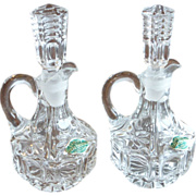 Lead Crystal Cruets Western Germany with Stoppers Pair