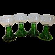 Vintage German Crystal Wine Goblets w/ Emerald Green Ribbed Stem – Set of 4