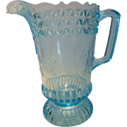 Antique Adams & Co EAPG Large Blue Glass Water Pitcher Wildflower