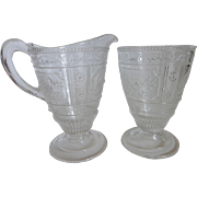 Antique EAPG Bryce Bros Early American Pattern Glass Creamer & Sugar Set Willow Oak