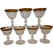 Gold Rimmed Etched Crystal Cordials Set of 7