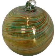 SALE PENDING Mt. St. Helens Volcanic Ash Hand Blown Art Glass Ornament – 3.5''