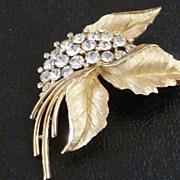 Crown Trifari Rhinestone Leaf Brooch