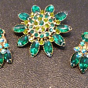 Vintage Emerald Green Rhinestone Demi Parure
