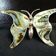 Francisco Rivera Mexico Sterling and Abalone Brooch Pin, Pre-1948