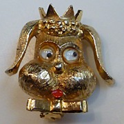 Vintage Dog Brooch with Rolling Eyes
