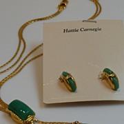 Rare Hattie Carnegie Demi Parure Slide Bolo Lariat Necklace and Earrings