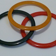 Vintage Bakelite Catalin Bangle Spacer Set Cherry, Olive Green & Butterscotch