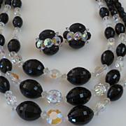 Dramatic Black Glass & Aurora Borealis Crystal Bead Necklace & Earrings
