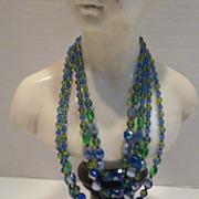 Vintage Four Strand Art Glass Bead Necklace