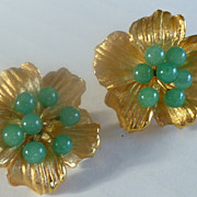 Vintage Gold Tone and Jade Pansy Earrings