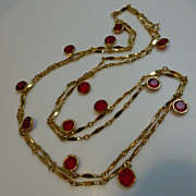 "Vintage 46"" Long Ruby Red Glass Dangle Gold Tone Necklace"
