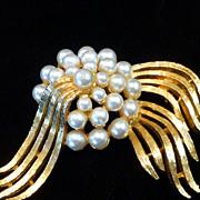 Fabulous Faux Pearl Brooch Pin Signed ART